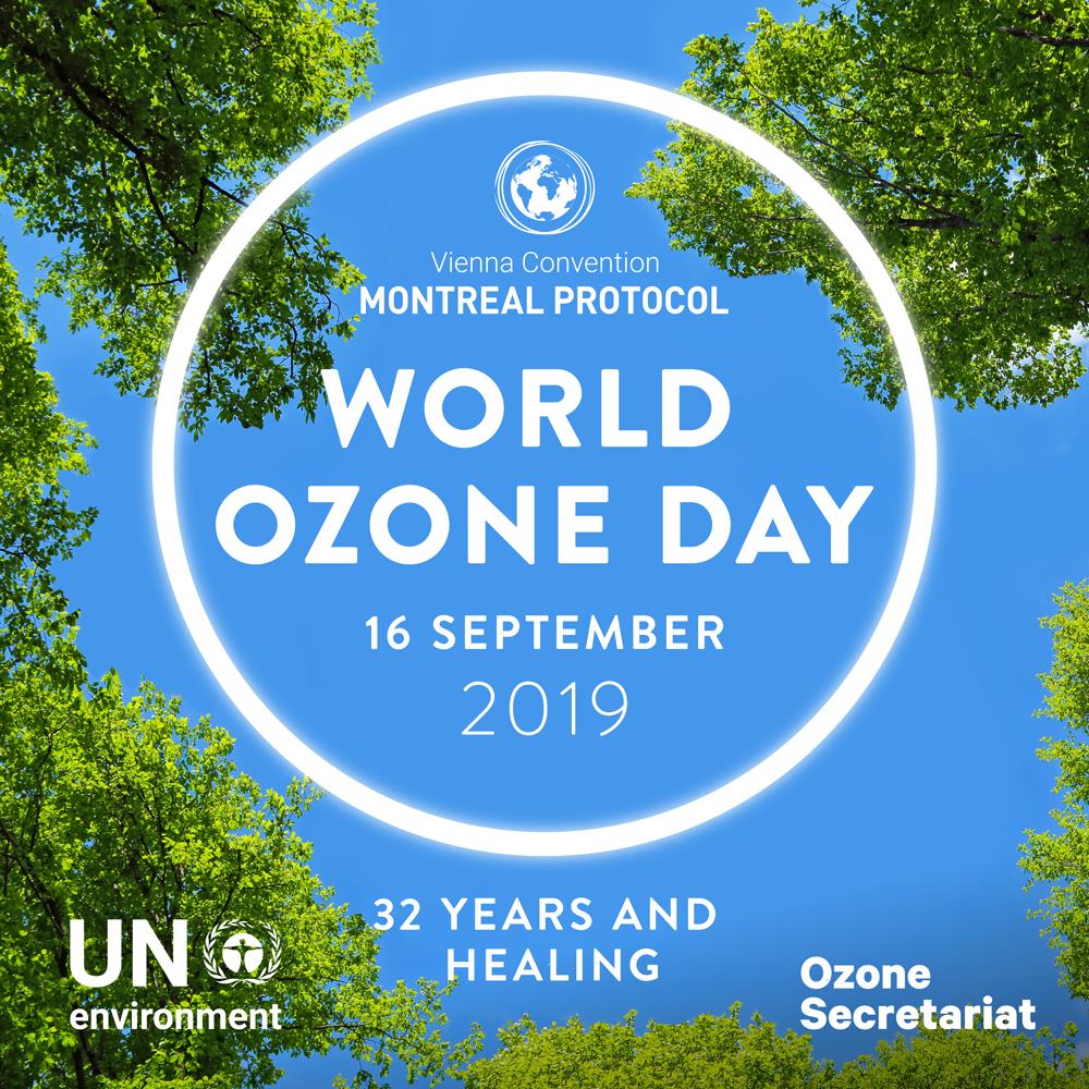 Logo 32 Tahun Penandatanganan Protokol Montreal untuk Memperingati World Ozone Day 16 September 2019 oleh PBB