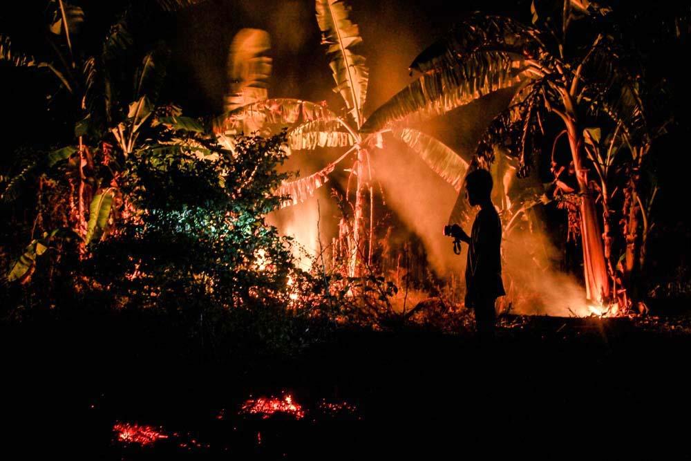 Seorang anak laki-laki yang berdiri memandangi kebakaran hutan yang terus terjadi.