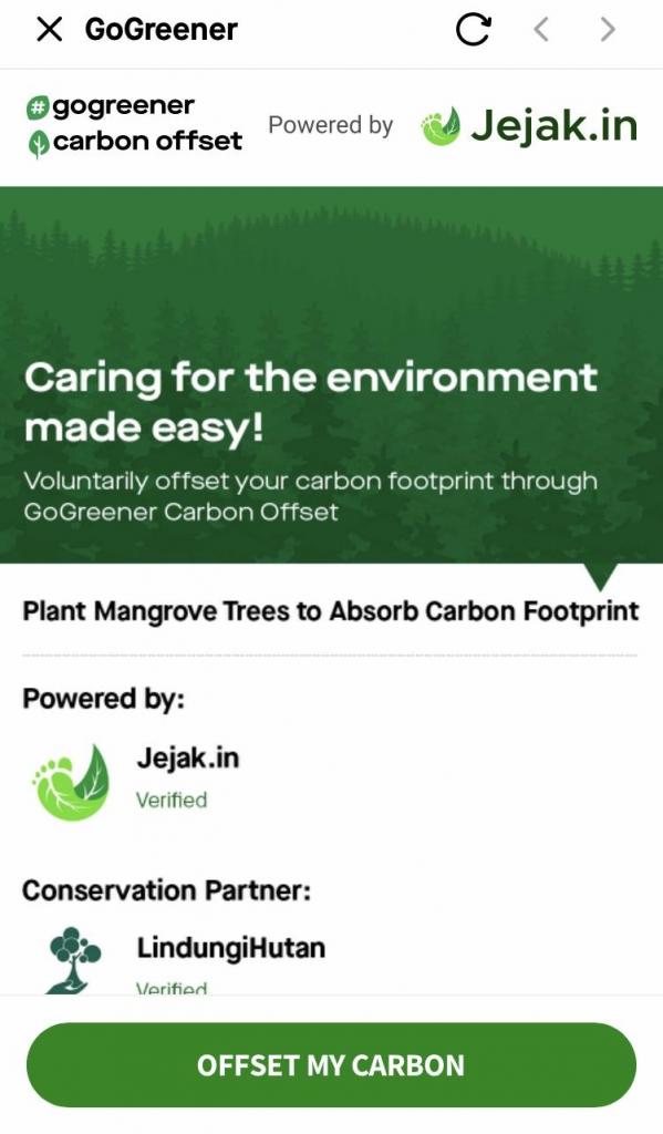 Fitur GoGreener Carbon Offset