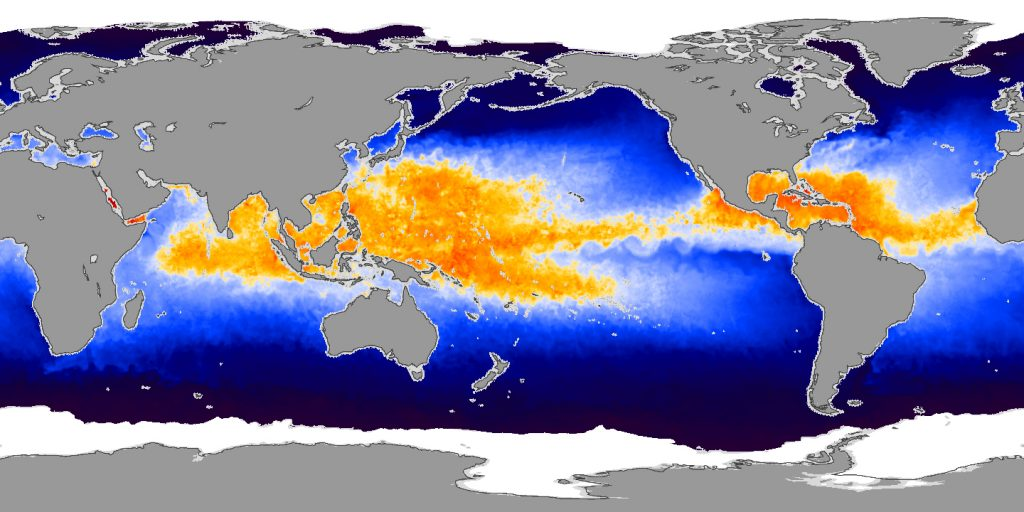 Gambar 1. Warm Waters Provide Fuel for Potential Storms ©NASA Earth Observatory