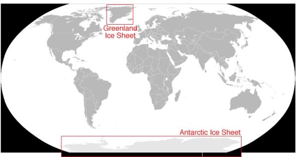 Gambar 2. Lokasi Lapisan Es Greenland dan Antartika
