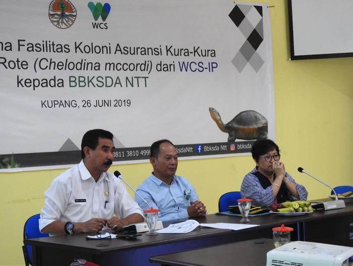 Kepala Dinas LHK NTT Ir. Ferdy J. Kapitan, M.Si (kiri), Kepala BBKSDA NTT Ir. Timbul Batubara, M.Si (Kanan) dan Country Director WCS-IP Dr. Noviar Andayani (kanan) pada acara serah terima fasilitas koloni asuransi kura-kura rote di Kupang