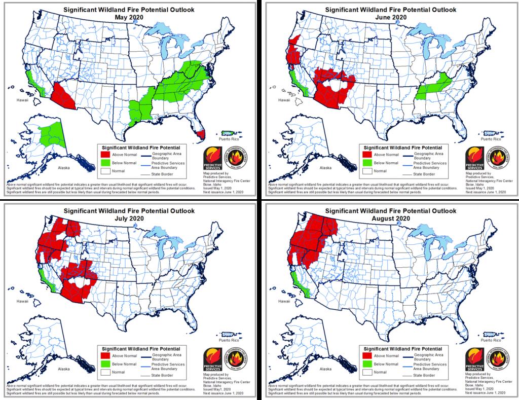 Gambar 3 Peta Wilayah Kebakaran Hutan di Amerika Serikat Sepanjang Tahun 2020