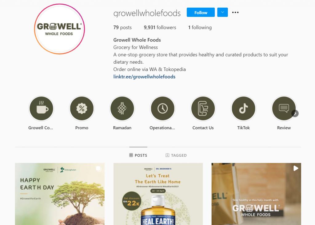 Gambar 2 Akun Instagram Growell Whole Foods © Instagram