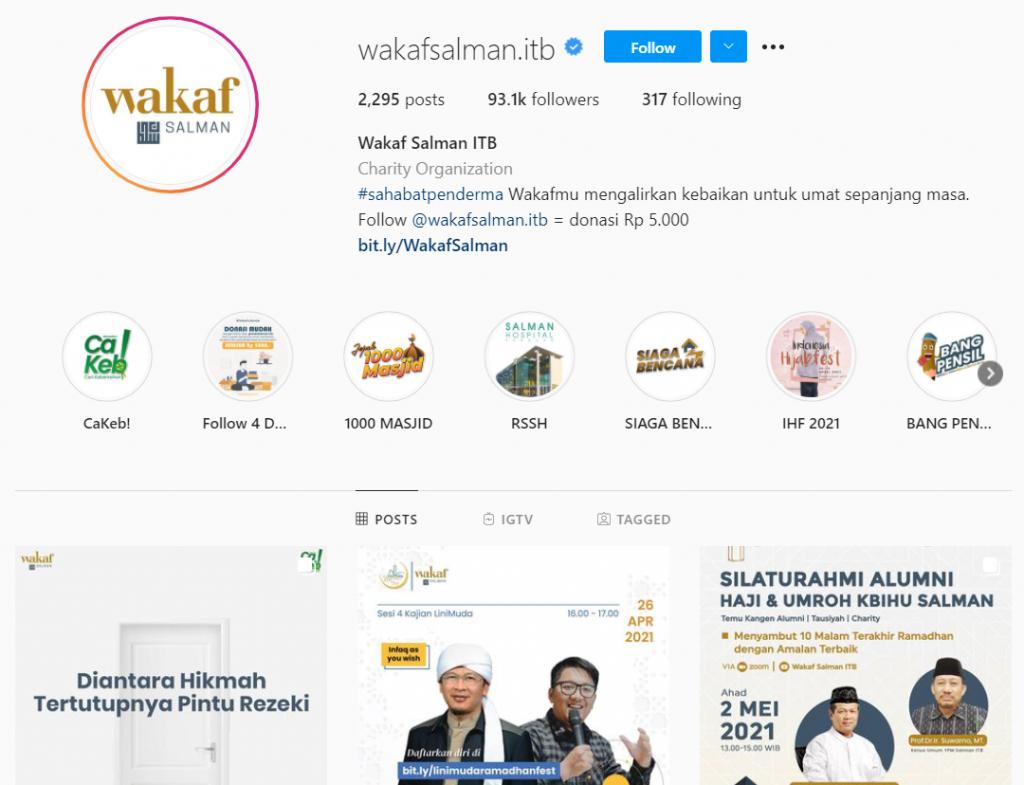 Gambar 2 Akun Instagram Wakaf Salman ITB © Instagram