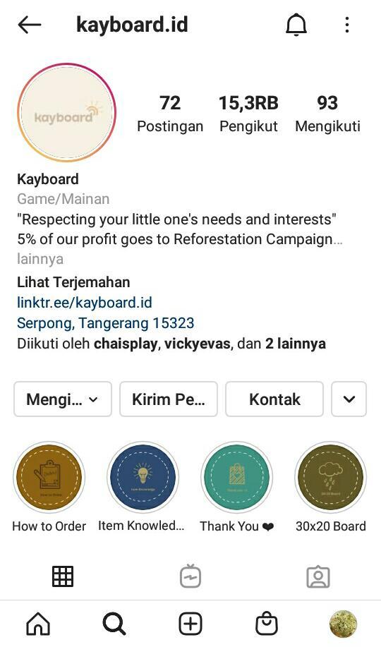 Gambar 1 Akun Instagram Kayboard.id