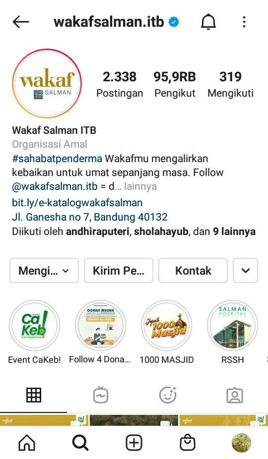 Gambar 1 Akun Instagram Wakaf Salman ITB