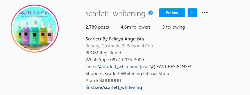 Akun Instagram Scarlett Whitening
